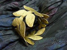 Handmade Hammered Brass arm Bracelet, inspired from Ancient Greek Goddess Athena by  Yfos Art