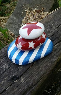 Red, White, and Blue Stacked Rock Sculpture/ Memorial Day/Patriotic/4th of July/Stars and Stripes/Indoor-outdoor Decor by ARockForAllSeasons on Etsy