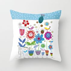 flower power Throw Pillow by Marianna Jagoda design -