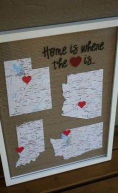 This Framed Map would be great for grandparents who have lots of family members spread out across the country or world. ideas for grandparents Over 25 DIY Gift Ideas for Grandparents Homemade Christmas Gifts, Christmas Gifts For Her, Xmas Gifts, Homemade Gifts, Christmas Crafts, Christmas Ideas, Origami Christmas, Handmade Christmas, Holiday Fun