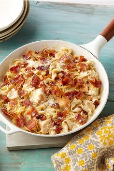 Cheesy Chicken Alfredo Skillet — Cheesy Alfredo meets easy chicken skillet dish in this bacon-and-Parmesan-topped crowd-pleaser.