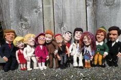 Needle Felted Celebrity Caricature Dolls by Felt Alive - www.feltalive.com  l-r Donald Trump, Marilyn Monroe, Ellen Degeneres, Elton John, Conan O'Brien, Willie Nelson, Spock, John Travolta, Janis Joplin, Will Ferrell, Johnny Cash