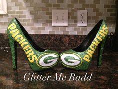 Green Bay Packers Heels, heel in Green by Glitter Me Badd #Packers #greenbay