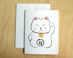 card maneki neko | Maneki Neko -- Japanese good luck c at card ...