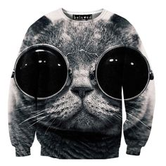 Cool Cat Sweat Shirt -  Unisex - Using a super-special sublimation printing technique that allows intensely vivid photographic images to be printed onto fabric, this innovative brand lets you realize the dream of wearing incredibly lifelike renditions of things...uh...like this cat with glasses. lol
