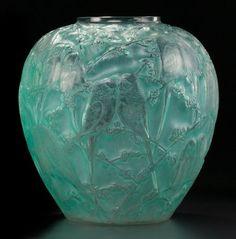 AN R. LALIQUE GLASS PERRUCHES VASE. Lalique, France, circa 1919.