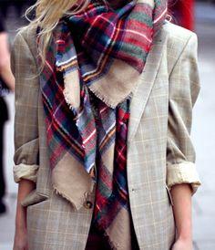 Boyfriend blazer + plaid scarf = cold weather perfection.