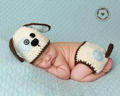 Newborn  Puppy Photo Prop/ Crochet Puppy Set/ by WillowsGarden, $35.00
