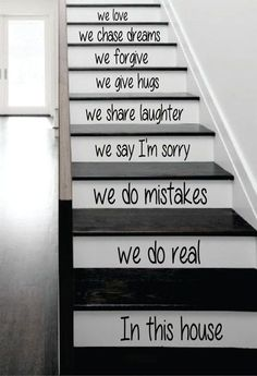 In This House Stairs Decor Decal Sticker Wall Vinyl Art In This House The latest in home decorating. Beautiful wall vinyl decals, that are simple to apply, are a great accent piece for any room, come in an array of colors, and are a cheap alternative to a Deco Stickers, Wall Stickers, Easy Home Decor, Cheap Home Decor, Home Renovation, Home Remodeling, Cheap Renovations, Deco Disney, Estilo Colonial