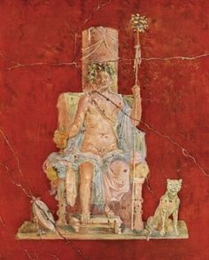 Fresco of the god Bacchus/Dionysus  enthroned with a dog sitting at his side. From the House of Naviglio (Casa del Naviglio aka Casa di Zefiro e Flora, VI.10.11). Pompeii.