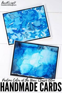 Create a stunning watercolor galaxy using Dual Brush Pens in shades of blue and turn them into handmade cards.