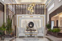 Entrance hall with seating corner and dining room - KSA Design Hall, Design Entrée, Showroom Interior Design, Foyer Design, Lobby Design, Luxury Interior Design, Interior Exterior, Interior Design Living Room, Living Room Designs