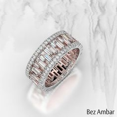 Ambar: Custom Engagement Rings and Fine Jewelry A beautiful baguette diamond wedding band with Pavé Edges.A beautiful baguette diamond wedding band with Pavé Edges. Baguette Diamond Wedding Band, Baguette Ring, Diamond Engagement Rings, Wedding Band Ring, Halo Engagement, Bridal Rings, Wedding Band With Diamonds, Baguette Eternity Band, Baguette Diamond Rings
