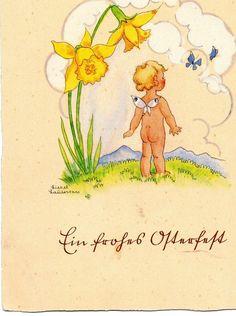 Liesel Lauterborn Elfe mit Narzisse Schmetterling Ein frohes Osterfest | eBay
