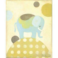 Baby elephants ♥ Nursery Nuances: Orange Nusery Designed by Wendy! Oopsy Daisy Canvas Wall Art Ella Elephant Blue from @Layla Grayce #laylagrayce #nursery #design
