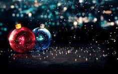 Download wallpapers xmas balls, 4k, Happy New Year, christmas decorations, glare, Merry Christmas, xmas