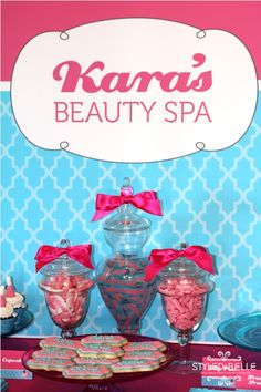 """The lovely Belinda from Styled by Belle styled this gorgeous Beauty Spa party for a 10 year old called Kara. As told by Belinda:""""I recently styled this """"Beauty Spa"""" party for a gorgeous 10 year old girl called Kara. Spa Birthday, 14th Birthday, Birthday Ideas, Manicure Station, American Girl Parties, Bottle Cake, Mini Glass Bottles, Personalized Chocolate, Beauty Spa"""