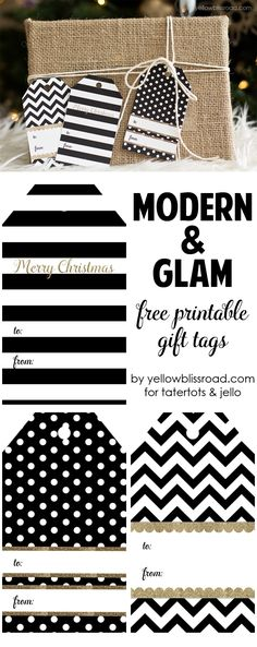 Modern Glam Free Printable Gift Tags by Yellow Bliss Road for Tatertots and Jello!!