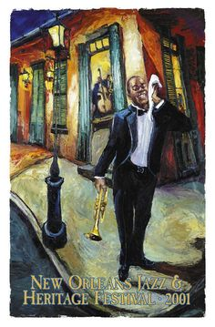 Jazz Fest Poster 2001 featuring Louis Armstrong