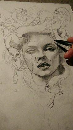 Inspirational Forearm Tattoo Tips diy tattoo images - tattoo images drawings - tattoo images women - Medusa Kunst, Medusa Art, Medusa Drawing, Medusa Painting, Half Sleeve Tattoos Drawings, Skull Tatto, Art Sketches, Art Drawings, Tattoo Old School