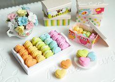 "Miniature Macaron, Heart, Bakery, Kawaii, Cute, Doll food, Fake food, 1:6, bjd, Blythe, Sweet, Pastel, Pastry, Gift, 12"" dolls, Barbie, Mini"