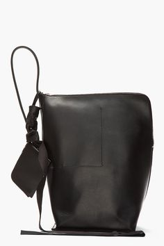 RICK OWENS Black Triangular Leather New Bucket Bag
