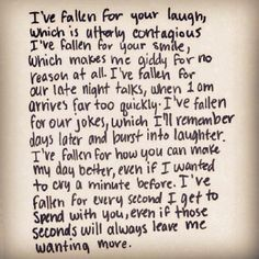 I've fallen for every second I get to spend with you, even if those seconds will always leave me wanting more.