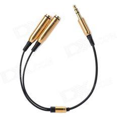 3.5mm Male to Dual Female Splitter Cable - Black + Golden (23cm)### For Wholesale price, pls contact Alex,  Whatsapp 0086-159-9443-4871 http://www.linkedin.com/pub/alex-lee/55/483/22b