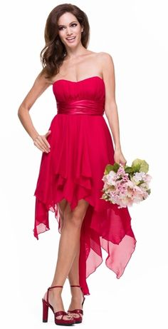 High Low Chiffon Red Bridesmaid Dress Strapless Layered Skirt $117.99