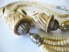 Vintage Tribal Carved Bone Necklace Natural by tubbytabby on Etsy