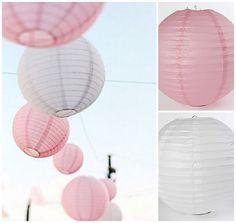 Papieren lampionnen in roze en wit
