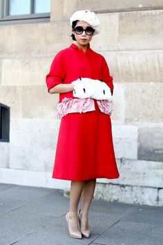 Très Chic! The Best Street Style at Paris Fashion Week: A brilliantly hued take on the sophisticate dress code.