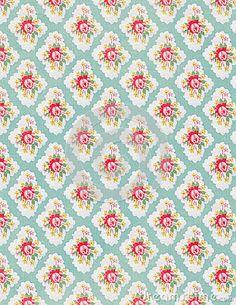 Vintage Rose Floral Wallpaper Shabby Chic Foto de archivo libre de ...