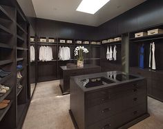 Beautiful his and her closet with home located in Los Angeles. Photo credit to…