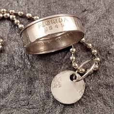 Florida State 90% Silver Quarter Coin Ring & Necklace Set MS0902-TSSFL