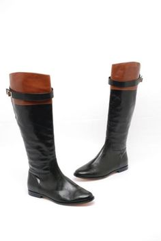 Cole Haan Riding Boot Black w/Brown Boots