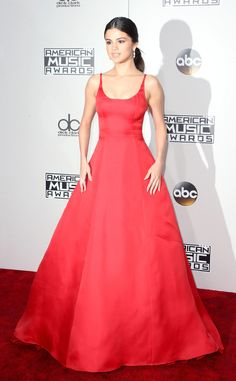 Selena Gomez from AMAs 2016: Best Dressed Stars  Breathtakingly beautiful in a floor-sweeping, red gown.