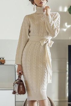 Sweater Dress Outfit, Long Sleeve Sweater Dress, Knit Dress, White Sweater Dress, Knit Wear, Sweater Dresses, Elegant Outfit, Elegant Dresses, Casual Dresses