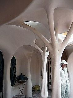 Fantastic! Sculpturistic styling in a cob home.  This would be great in a porch  or entrance area. by felicia Organic Architecture, Interior Architecture, Interior Design, Residential Architecture, Contemporary Architecture, Design Art, Pavilion Architecture, Amazing Architecture, Futuristic Architecture