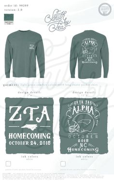 Zeta Tau Alpha | ZTA | Homecoming | North Carolina | Football Theme Tee Shirt Design | South by Sea | Sorority Shirts | Sorority Tanks | Greek Shirts | TShirt Ideas | Tee Shirt Ideas