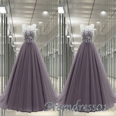 #promdress01 #promdress, elegant grey tulle high waist long prom dress for, ball…