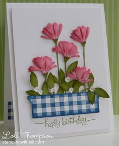 Love the bag of flowers and how bright and springy this is kind gingham and flowers handmade birthday cardshandmade thecheapjerseys Images