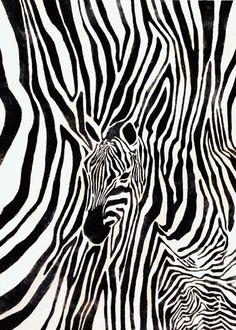 「シマウマ」 Work by Chie Shibata /芝田千絵 #zebra #animal #art