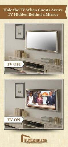 Tv hidden behind a mirror more bathroom tv mirror, mirror tv unit, mirrors, Tv In Bathroom, Tv Unit Furniture, Tv Covers, Hidden Tv, Hidden Storage, Tv Wall Design, Framed Tv, Home Technology, Bedroom Decor