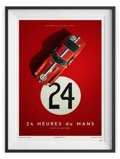 Ferrari Collection fine art print - Ferrari 250 GTO – Le Mans 1962 - 70 x 50 cm Poster Ads, Car Posters, Vintage Racing, Vintage Cars, Ferrari 250 Gto, Ferrari 2017, Course Automobile, Le Mans 24, Porsche