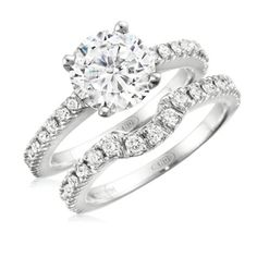 Round Diamond Fishtail Engagement Ring Set 1.66 Carat 14K White Gold - $4230.00 americandiamondsjewelry.com
