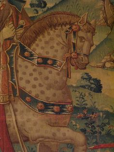 The Return of the Prodigal Son, Tournai, c 1520, wool and silk tapestry, Musee du Moyen Age, Paris, detail. One of the finest Zombie Horses in European art.