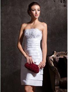 Sheath/Column Strapless Knee-Length Taffeta Wedding Dresses With Lace  Beadwork (002011535)