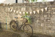 Bunting Hessian Just Married Bike Bicycle Flower Basket Vintage Burgundy Gold Rustic Glam Barn Wedding http://www.terripashleyphotography.co.uk/