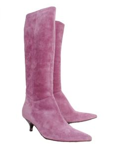 L.K. Bennett Suede Knee High Pointed Boots - front side Shoes For Less, Knee High Boots, Designer Shoes, Heeled Boots, Footwear, Purple, Heels, Fashion, High Heel Boots